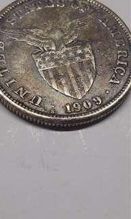 Old Silver Coin 1peso US Philippines