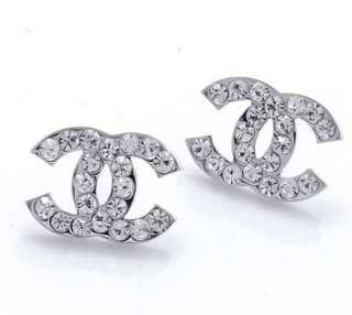 Chanel Style Silver CC Crystal Rhinestone Earrings