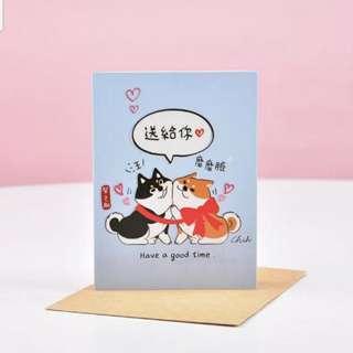 台灣製造 柴之助 柴犬迷你賀卡 Shiba萬用卡 生日卡 情人卡 示愛卡