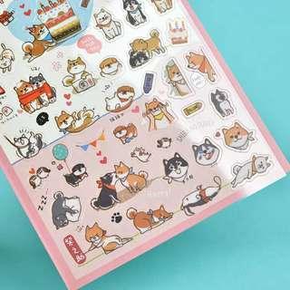 台灣 柴犬 小貓 卡通牛皮貼紙 電話筆記本日記裝飾 手帳貼