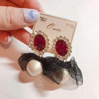 🚚 日本製 桃紅大寶石蝴蝶結珍珠耳環