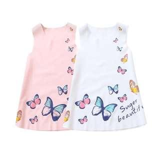Baby Cotton Kids Girls Sleeveless Ice Silk Butterfly Princess Party Dresses