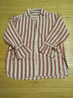 🚚 全新厚雪紡造型袖口直條襯衫上衣