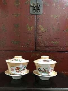 舊景德茶盅一對