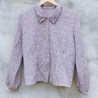 🔹我風古著mytypevivid |襯衫|紫色雕花層次領