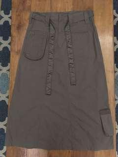 Olive green long cargo skirt
