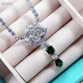 伯爵 花系列 純銀 酷石 頸鏈 仿鑽石 珠寶 首飾