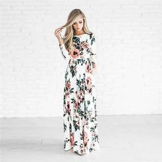 Women's Fashion Spring 3/4 Sleeve Classic Rose Maxi Dresses