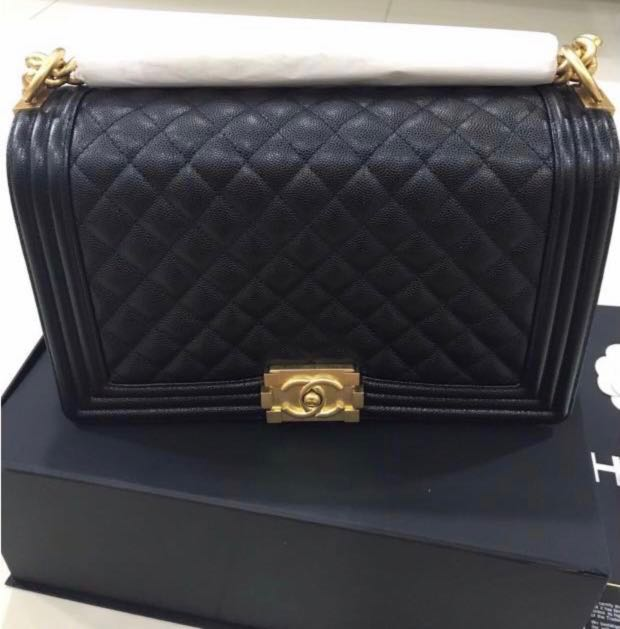56ab7c389799 Chanel Boy New Medium Bag With Gold Hardware, Luxury, Bags & Wallets ...