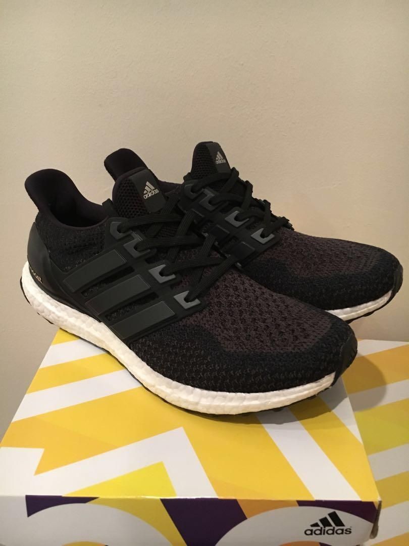 cheaper eb898 000a2 Adidas Ultra Boost 2.0 Core Black US10, Men s Fashion, Footwear ...