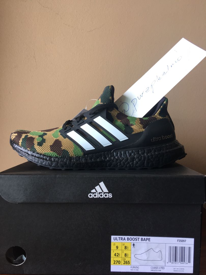 official photos 59e05 57831 Adidas x Bape Ultra Boost, Mens Fashion, Footwear, Sneakers on Carousell