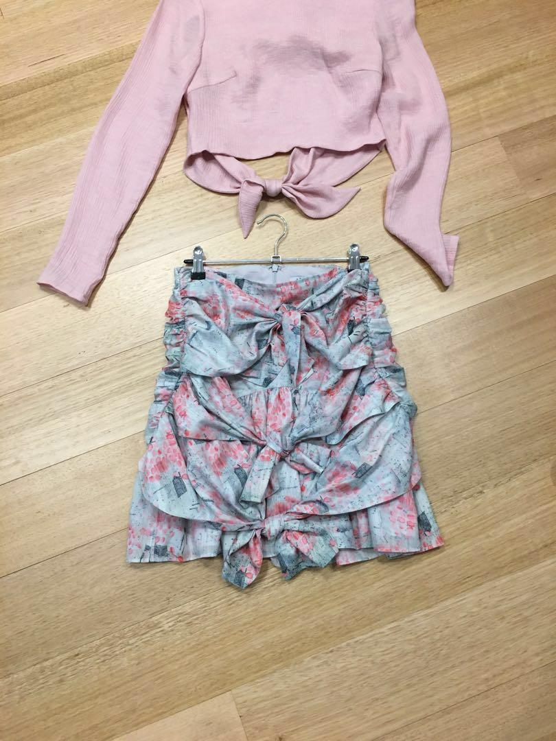 Atoir silk ruffle skirt