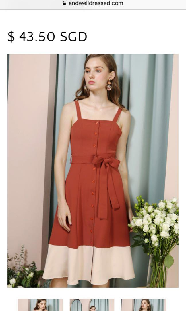 AWD Requiem Duo Tone Button Down Dress in Rust/Sand S