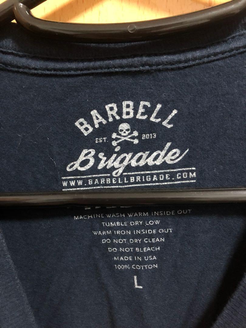 Barbell brigade tee 美國著名健身服裝品牌size L 70% new