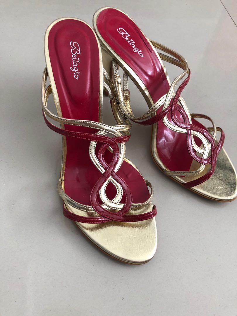 Bellagio selop heels RED gold