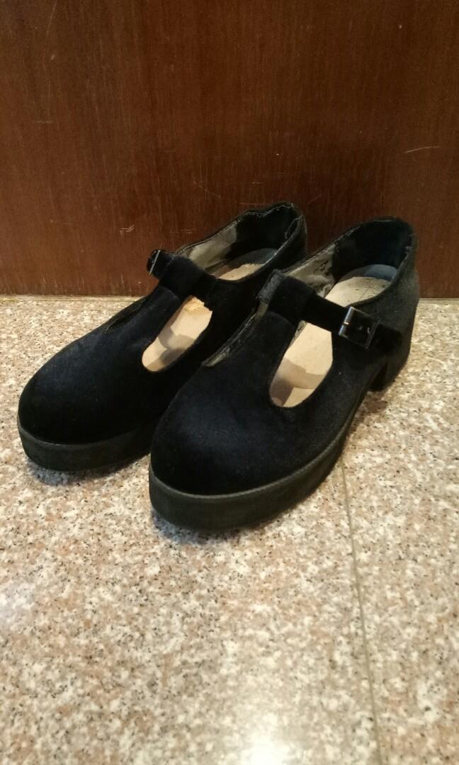 aafba750d95f3 Topshop Black Velvet Mary Jane (T-bar) Platforms, Women's Fashion ...