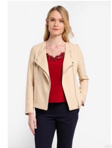 hot-selling official new images of big discount sale Brand new Beige Biker Jacket- Zalora