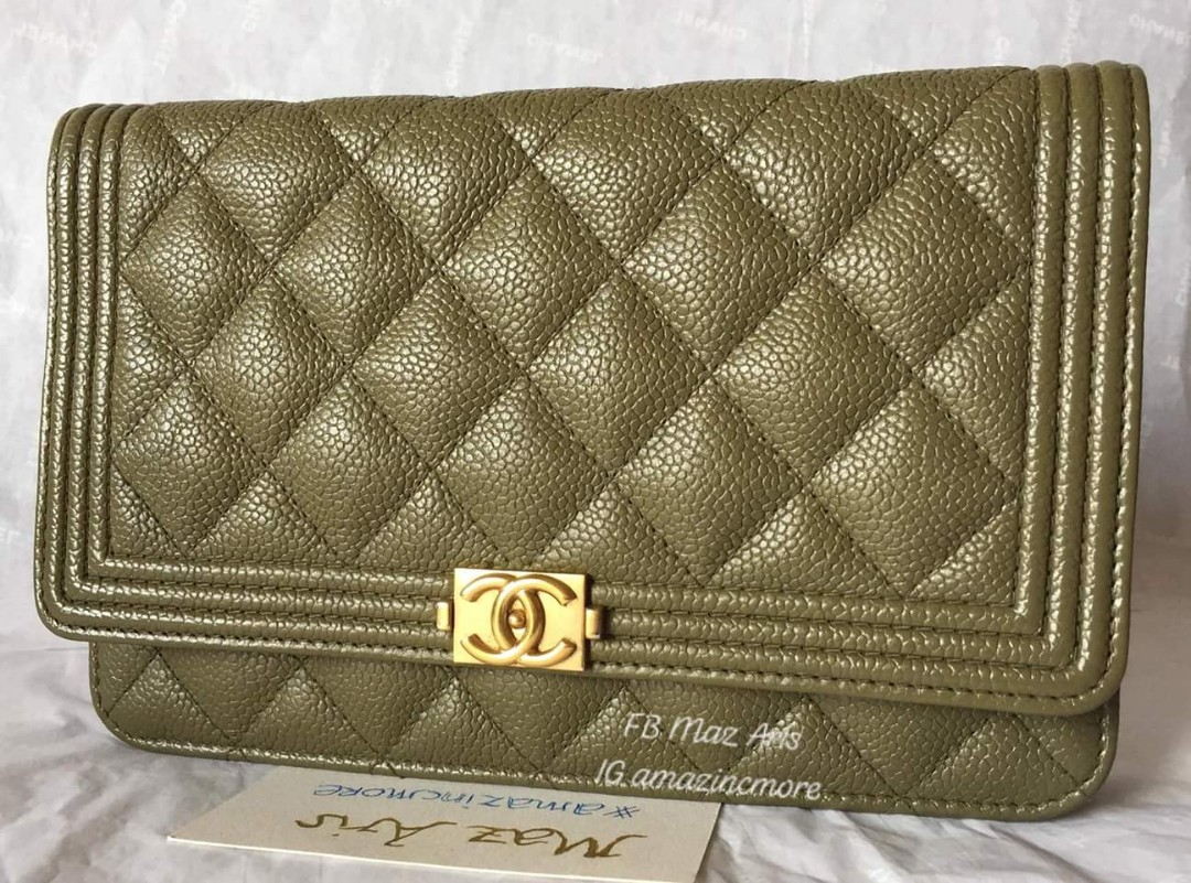 Chanel  Rare  Cuba collection khaki green quilted Wallet on Chain ... dbc72c4cd962e