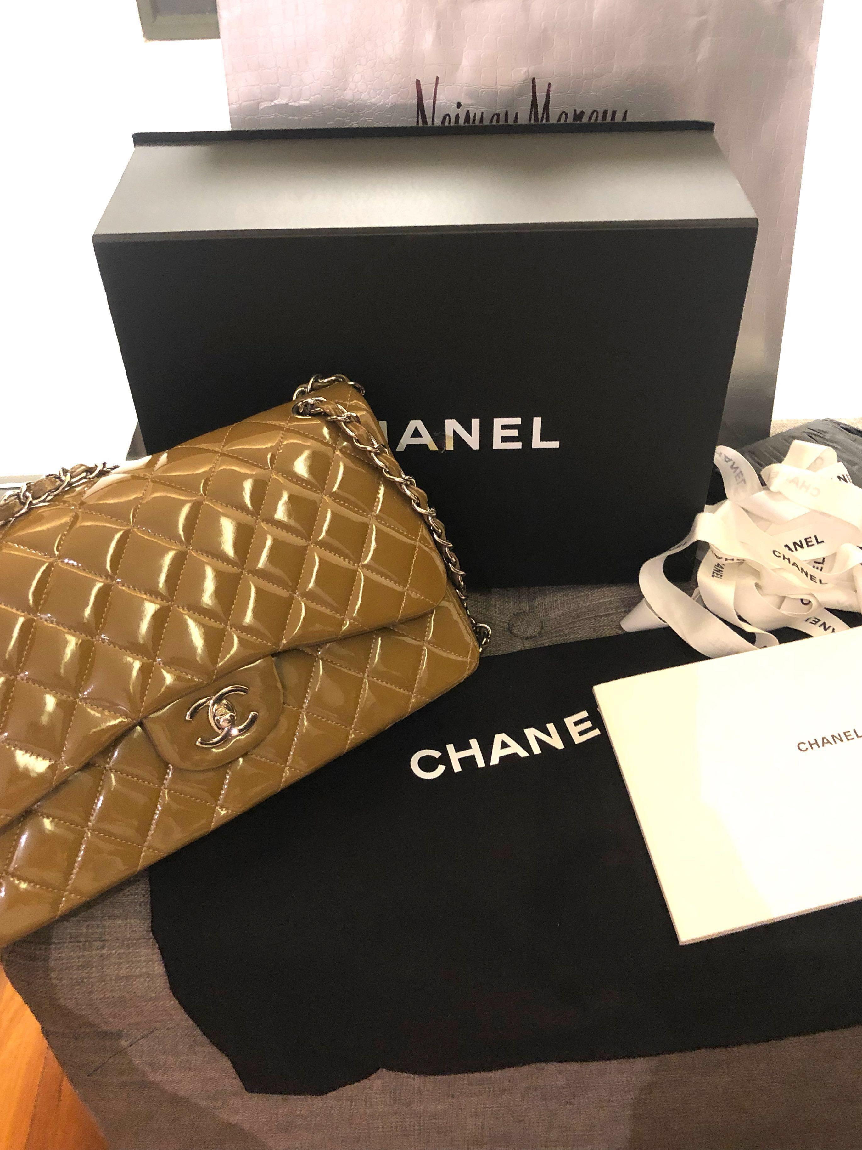 cad2a0940247e7 CHANEL TAUPE PATENT JUMBO CLASSIC DOUBLE FLAP BAG SILVER HW on Carousell