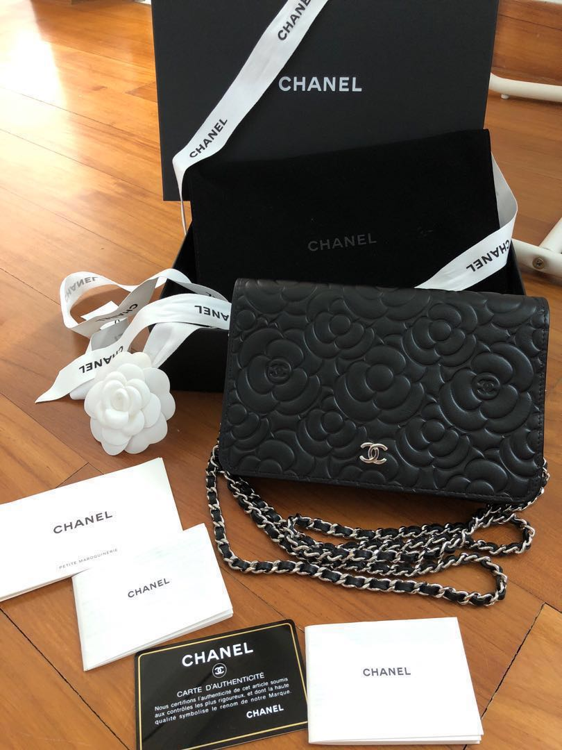 dbed1b7d7c0166 Chanel WOC (wallet on chain) Black Camelia Leather, Luxury, Bags ...