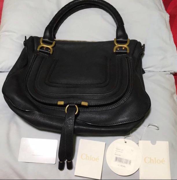7f2fcbacb1a Chloe Marcie Medium Navy Blue , Luxury, Bags & Wallets, Handbags on ...