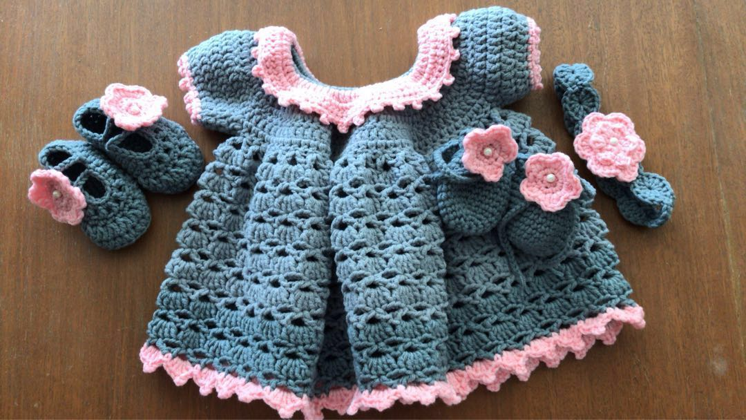 Crochet Baby Dress Set Babies Kids Babies Apparel On Carousell