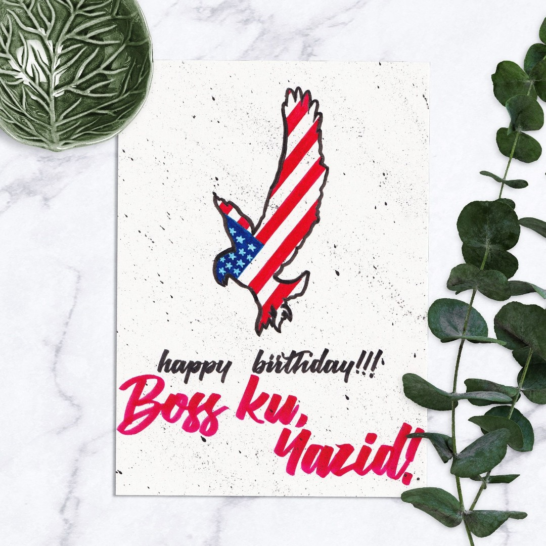 Custom Hand Made Birthday Card O Illustration Lettering Calligraphy