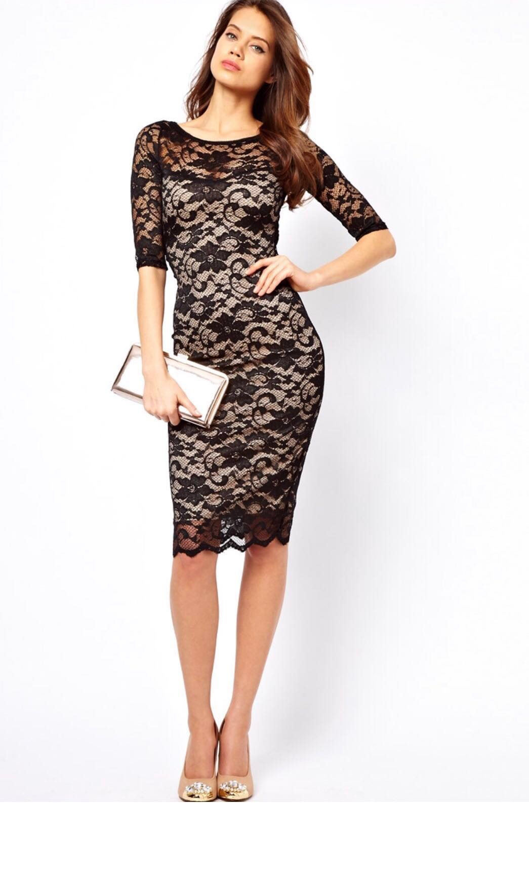 a08301db0bf5 Elise Ryan Open Back Midi Dress in Lace, Women's Fashion, Clothes ...