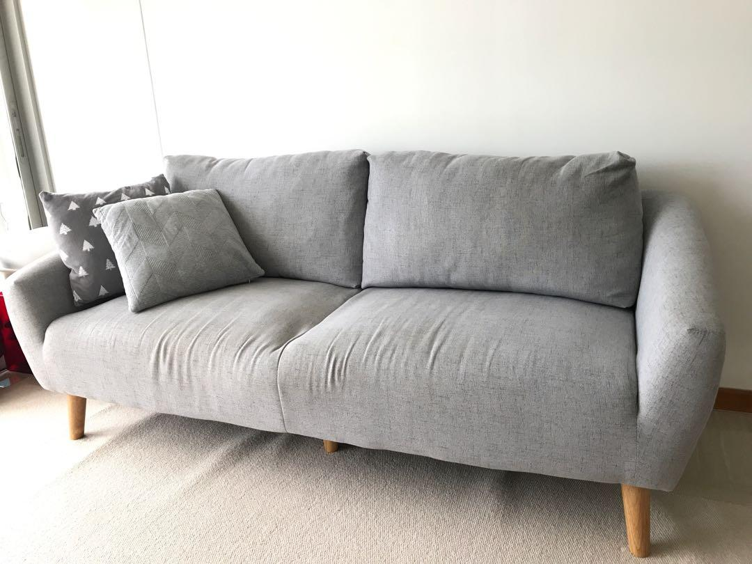 Grey Fabric 3 Seater Sofa Furniture Sofas On Carousell