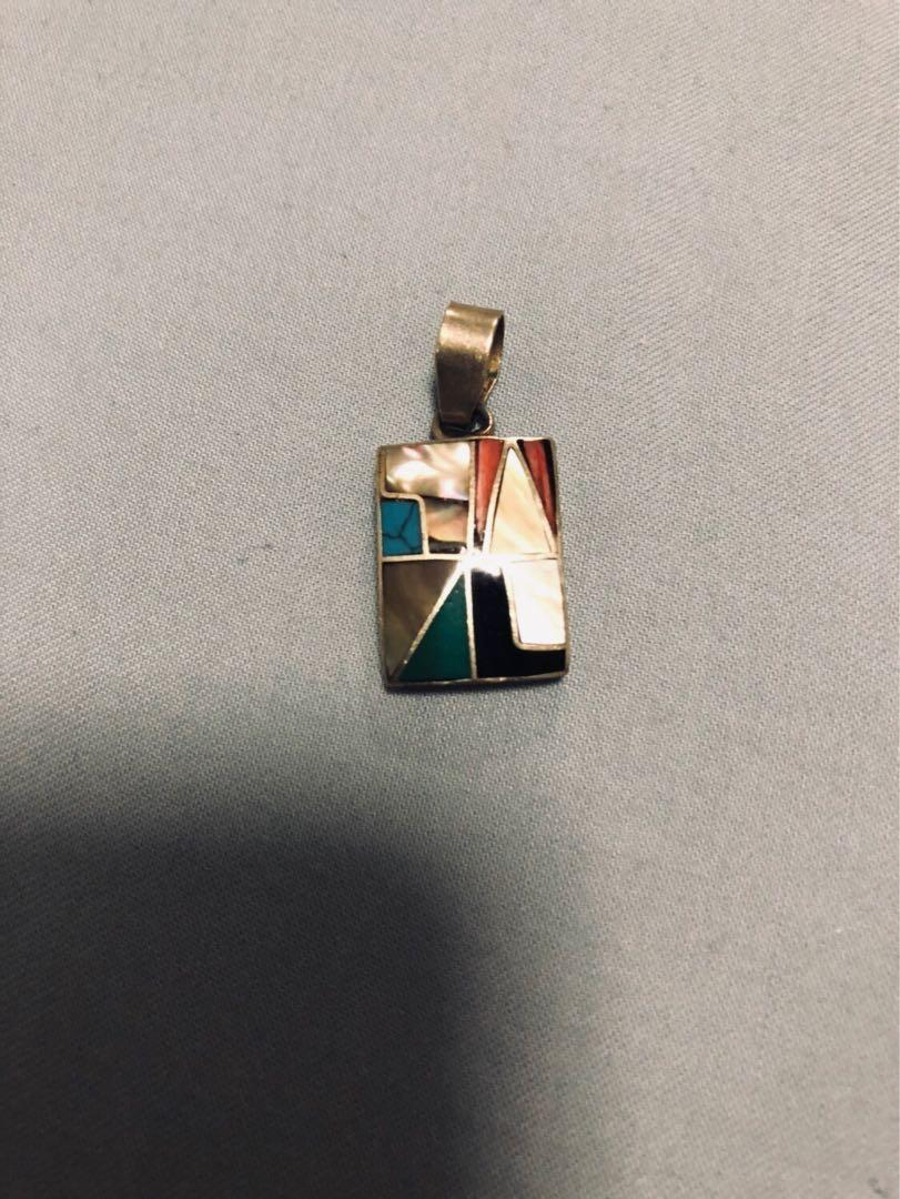 Handmade Sterling silver pendant with semi precious gemstones