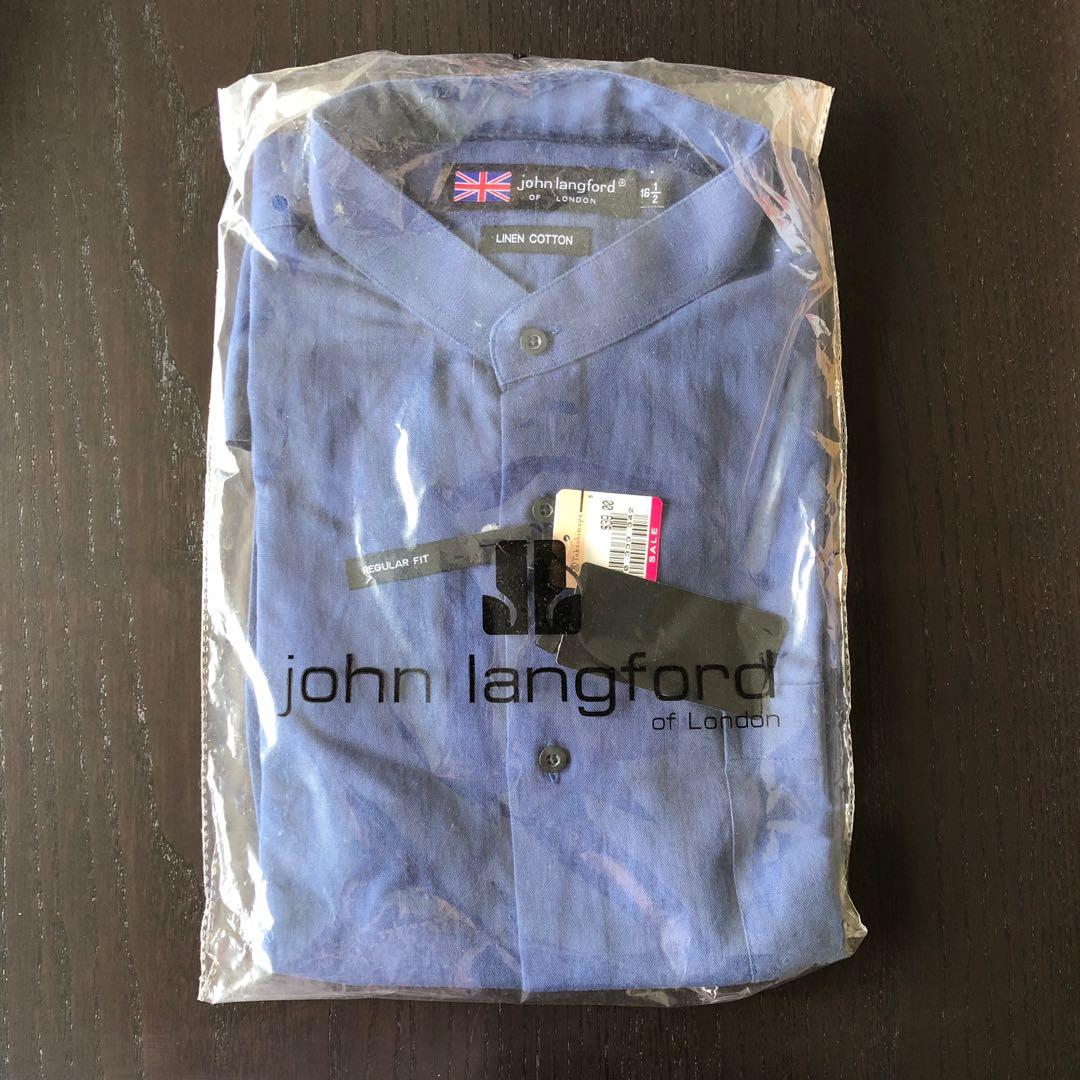 551eab774aa John Langford Mandarin Collar Short Sleeve Shirt 16.5 - BNWT