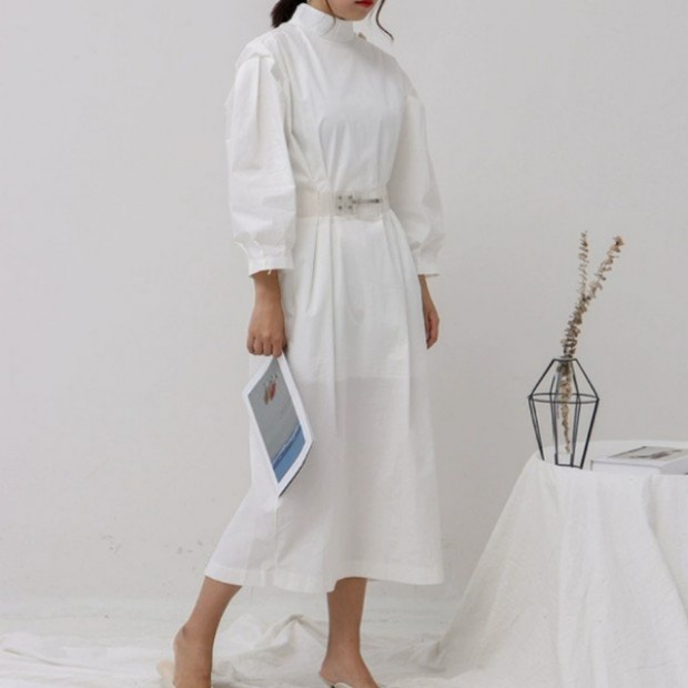 Korean Pleated Midi Dress Korea Style Brand New Fashion 2019