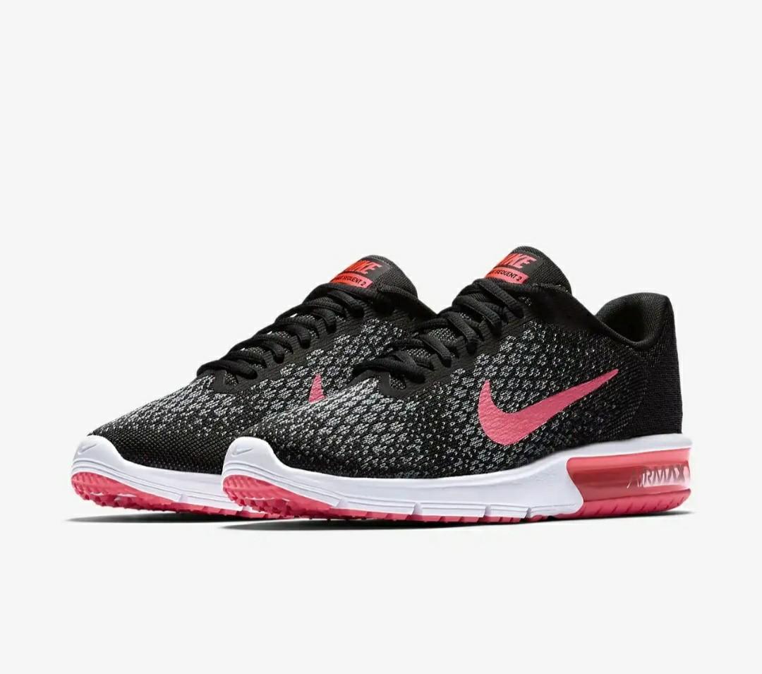 42ea6887199e Nike womens air max sequent 2 black pink