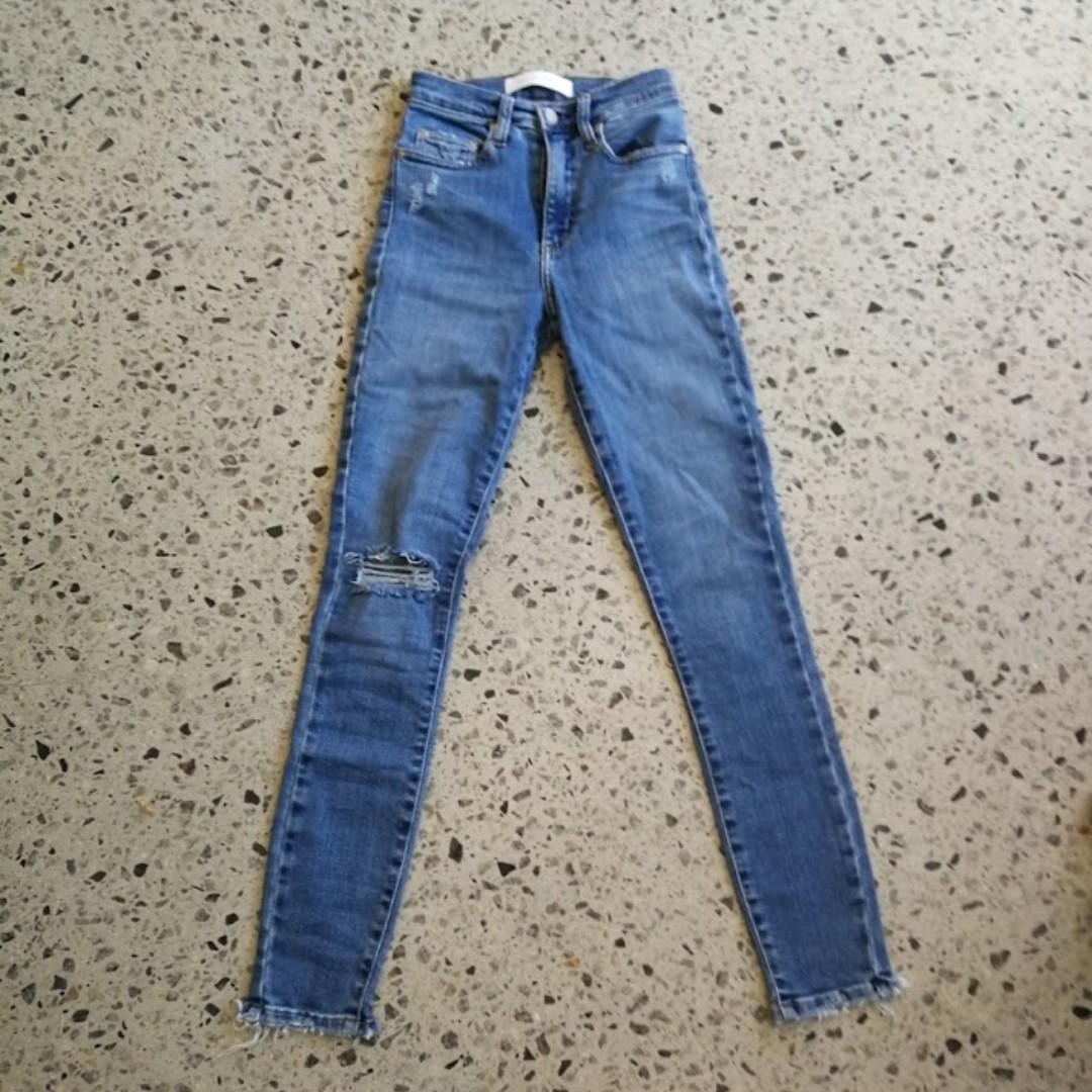 Nobody Denim Cult Skinny Ankle Jeans Blue Distressed 24