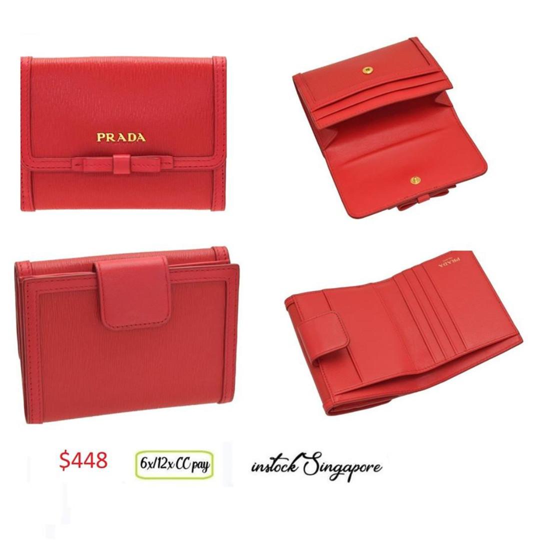 cf7c098e76bb44 READY STOCK authentic new Prada VITELLO MOVE 1mh523 lacca red fold ...