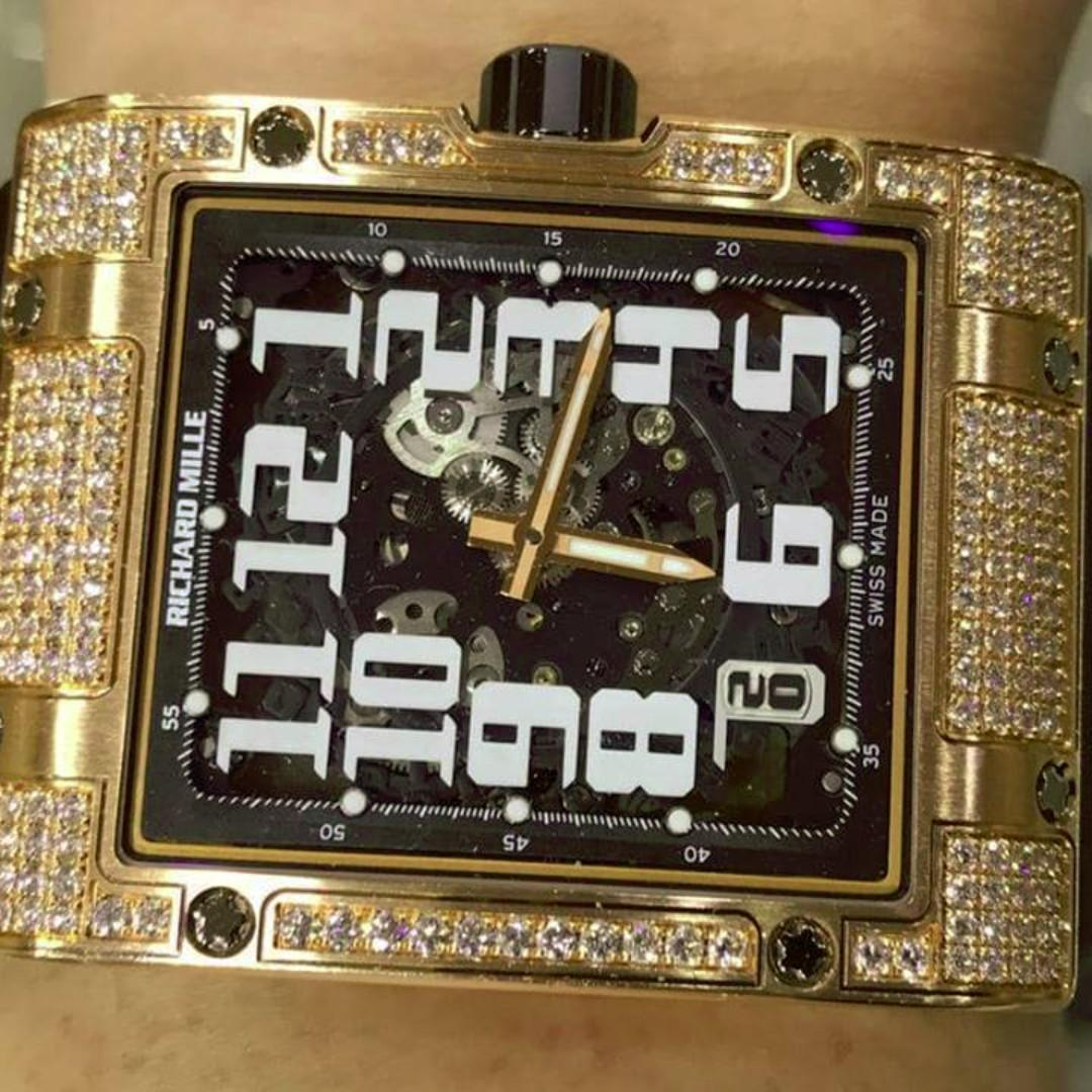 Richard Mille RM016 Diamonds RM016 Ultra Flat Rose Gold with Diamond Case Black Rubber Strap with Skeleton Dial