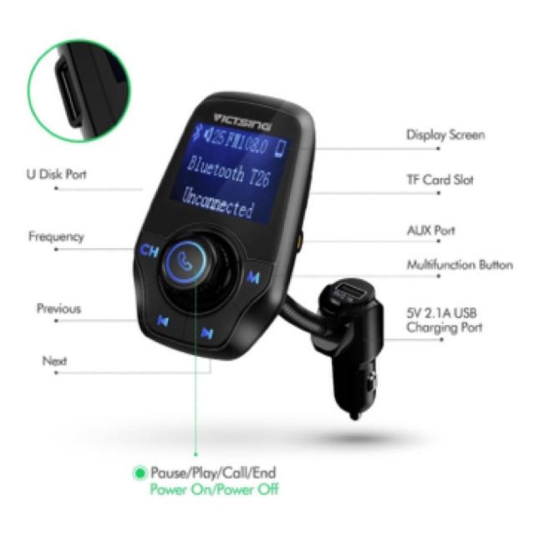 VICTSING T26 Car Bluetooth FM Transmitter, Car Accessories