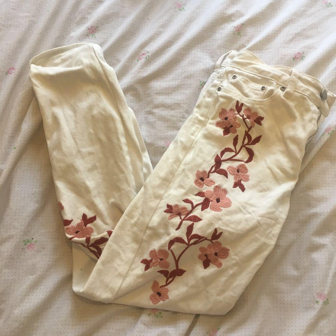 White Mom/Mum Jeans with Pink and Red Floral Embroidery