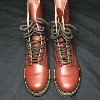 Dr. Martens cherry red boots women's size