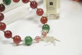 【☘紅綠草莓🍓】🍓草莓晶水晶手鏈 | 925純銀