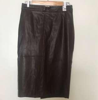 Zara brown pleather pencil skirt
