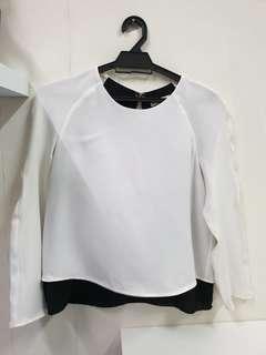 MANGO White & Black Blouse (S)