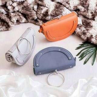 NEW Tas Miniso Original Semicircle bag grey peackok blue abu biru tas selempang ring handbag shoulder bag crossbody