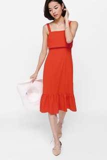 Love Bonito Dreya Tie Back Ruffled Hem Midi Dress Vermillion size XS