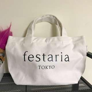 日本festaria | 品牌白色帆布包 手提包