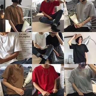 🚚 ☻ ʟɪᴢᴅᴀsʜᴏᴘ 🛒 韓國原宿bf風寬松情侶裝簡約百搭基礎純色短袖t「A2804 」 需預訂!
