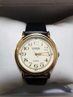 🚚 Authentic Guess watch for ladies with black leather strap