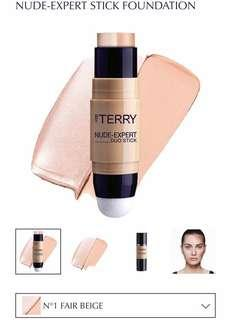 BRAND NEW By Terry Nude-Expert Duo Stick Foundation + Highlighter in FAIR BEIGE