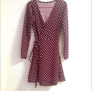 Polka wrap dress