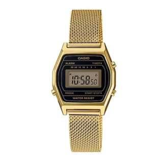 Casio Vintage Standard Digital Gold Tone Stainless Steel Mesh Band Watch